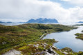 Road To Mountains, Lofoten Islands In Norway Royalty Free Stock Photos - 56743978