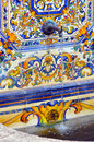 Colourful Spanish Tiles Decoration On Water Fountain Stock Image - 56752181