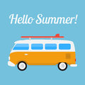 Retro Bus With Surf Board Stock Photography - 56768562