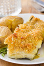 Fried Cod Fish With Corn Bread And Potato Stock Images - 56778124