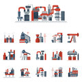 Industrial Factories Flat Color Icons Royalty Free Stock Photography - 56786207