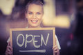 Smiling Blonde Waitress Showing Chalkboard With Open Sign Royalty Free Stock Photo - 56791355