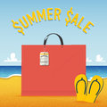 Blank Shopping Bag On Beach And Sea  Background In Summer Sale Concept .  Vector Stock Photos - 56795553