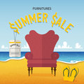 Flat Design Of Classic Chair On Beach And Sea Background In Furniture Summer Sale Concept . Stock Image - 56795571