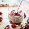 Chia Pudding With Fresh Cherries Royalty Free Stock Photography - 56802927