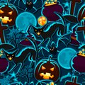Happy Halloween Seamless Pattern With Stickers Stock Images - 56805144