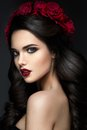Beauty Fashion Model Girl Portrait With Roses Royalty Free Stock Image - 56807386