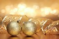 Christmas Or Holiday Background With Two Golden Ornaments Stock Image - 56808941