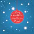 Merry Christmas And Happy New Year 2016 Wishes Card Stock Photo - 56817450