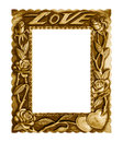 Old Antique Gold Frame Love Isolated On White Background. Royalty Free Stock Images - 56834169