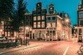 Night City View Of Amsterdam Houses Royalty Free Stock Photo - 56843445