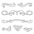 Scroll Elements, Set Of Vintage Calligraphic Vignettes Stock Photos - 56848943