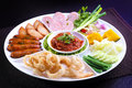 Mix Northern Thai Food - Sai Aua (Northern Thai Spicy Sausage), Naem (Sour Pork), Cab-Moo (pork Snack), Moo-Yor (preserved Pork Sa Royalty Free Stock Photos - 56854758