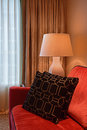 View Of Corner Room With One Sofa End And Side Table With Table Lamp Stock Photos - 56862923
