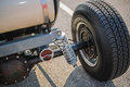 Rear View Of Old Vintage Customized Hot Rod Car Wheel And Other Parts Royalty Free Stock Image - 56864786