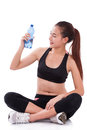 Happy Woman Holding Bottle Of Water Stock Photos - 56896413