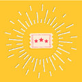 Big Ticket. Cinema Icon In Flat Design Style. Shining Effect Dash Line Circle Stock Images - 56896654