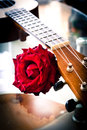 Red Rose And Ukulele. Vintage Style. Stock Images - 56897644