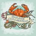 Nautical Label With Sample Text, Sailing Royalty Free Stock Images - 56902649
