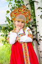 Little Girl In Russian National A Sundress Royalty Free Stock Photography - 56932137
