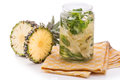 Infused Fresh Fruit Water Pineapple, Cucumber And Mint .isolated Stock Photography - 56940802