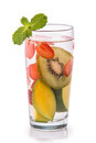 Infused Fresh Fruit Water Kiwi, Mango And Strawberry.isolated Ov Stock Photos - 56940863
