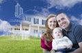 Young Military Family With Ghosted House Drawing Behind Stock Photo - 56952780