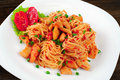 Pasta. Spaghetti With Sauce And Chicken On A Plate. Stock Image - 56953911