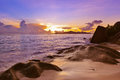 Sunset On Beach Source D Argent At Seychelles Stock Photo - 56956990