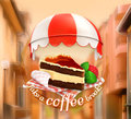 Coffee Cake At Cafe Stock Image - 56957061
