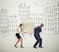 Couple Of Thieves Carrying Bag Royalty Free Stock Photography - 56959087