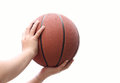 Hands And Basketball On White Background Royalty Free Stock Image - 56966046