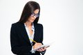 Businesswoman Writing Notes In Notebook Stock Images - 56969794