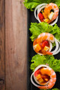 Sweet And Sour Shrimp, Prawn Cocktail On Long Square Dish And Wo Royalty Free Stock Photography - 56991327