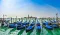 Beautiful View Of Traditional Gondolas On Canal Grande With San Giorgio Maggiore Church At Morning, Venice, Italy Stock Photos - 57002333