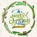 Watercolor Christmas Greeting Card With Wreath Of Holly Twigs And Text Merry Christmas. Watercolor Art. Christmas Decor. Stock Photos - 57034033