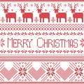 Scandinavian Merry Christmas Sign Inspired By  Nordic Pattern In Cross Stitch With Reindeer, Snowflake, Tree, Stars, Decorative Fl Royalty Free Stock Photography - 57040537