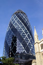 30 St Mary Axe, The Gherkin, Swiss Re Building In London, England, Europe Royalty Free Stock Photography - 57040687