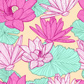 Vector Seamless Pattern With Beautiful Pink Lotus Flower And Gre Stock Photo - 57045460