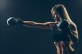 Beautiful Woman With The Red Boxing Gloves,black Royalty Free Stock Image - 57049886