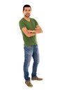 Young Man Jeans Green T-shirt Standing Crossing Royalty Free Stock Photo - 57050085