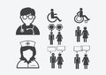 Doctor Nurse   Patient Sick Icon Sign Symbol Pictogram Royalty Free Stock Images - 57054629