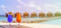 Two Cocktails On Luxury Tropical Beach Resort Stock Image - 57057261