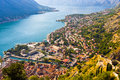 Looking Over The Bay Of Kotor In Montenegro With View Of Mountains, Boats And Old Houses Stock Image - 57071871