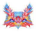 Psychedelic Owl Head Tattoo. Stock Photo - 57074450