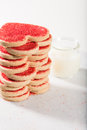 Heart Shaped Cookies For Valentines Day And Milk Stock Photo - 57085990