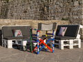Seats And Table Made Out Of Pallets In Stone  Wall Royalty Free Stock Photography - 57091997
