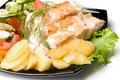 Stake From A Salmon With Vegetables Stock Photos - 5713573
