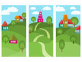 Three Banners With Colorful Small Town Stock Image - 57110321