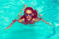 Woman In Pool Stock Images - 57115634